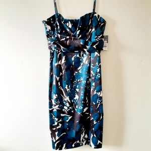 Donna Ricco Wiggle Cocktail Strappy VNeck Dress 14